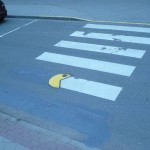 Childhood video game pac man portrait on the road