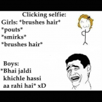 Selfie difference – girls vs boys