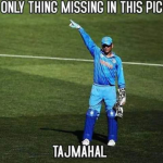 The Taj Mahal pose by Dhoni