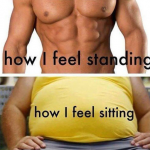 Difference between your body shapes – when you stand and sit