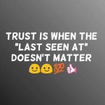 Trust is when the 'LAST SEEN' at whatsapp doesn't matter
