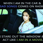 Superstar like feeling when you hear sad songs in a car
