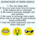 Advatnages of being single – mind blowing image