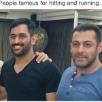 M S Dhoni and Salman Khan hitting and running – celebrity image