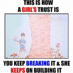 This is how a girl's trust is for her lover